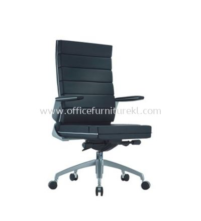 TREND EXECUTIVE MEDIUM BACK LEATHER CHAIR WITH CHROME TRIMMING LINE