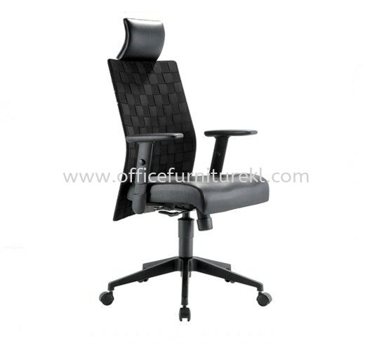 TRION EXECUTIVE HIGH BACK LEATHER CHAIR WITH NYLON ROCKET BASE
