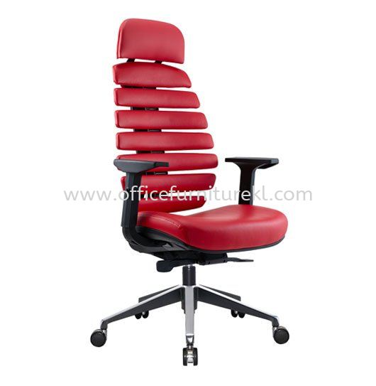 YOGA EXECUTIVE HIGH BACK LEATHER CHAIR WITH TWO TONE ALUMINIUM ROCKET DIE-CAST BASE ACL 2229