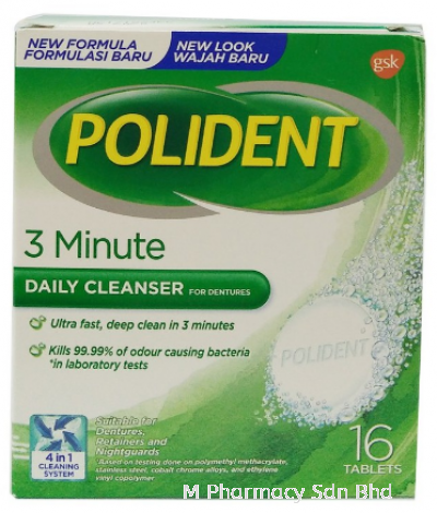Polident Denture Cleanser (16 Tablets)