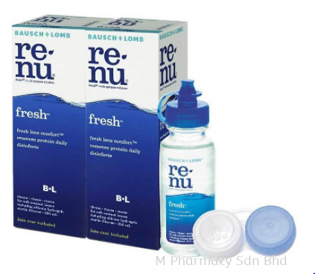 Renu Fresh Contact Lens Solution (2x120ml) With Lens Case