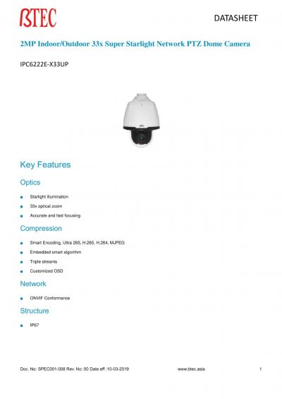 IPC6222E-X33UP 2MP 33x SUPER STARLIGHTNETWORK PTZ DOME CAMERA