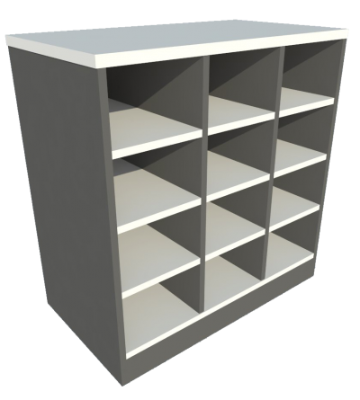 Low Cabinet Pigeon Hole (Grey + Graphite)