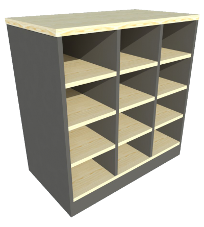 Low Cabinet Pigeon Hole (Maple + Graphite)