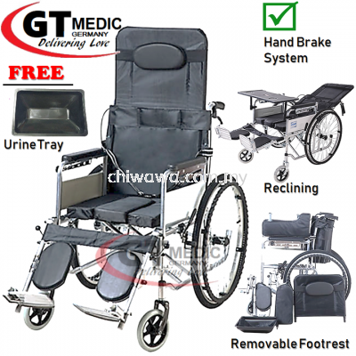 �� RM284.90����Lie Down��GT MEDIC GERMANY Lightweight Wheelchair Foldable Travel Commode Wheel Chair  Kerusi Roda Ringan + Urine Tray