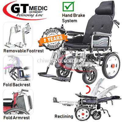 ��RM2,990.00����Lie Down��GT MEDIC GERMANY Reclining Electric Wheelchair Foldable Transport Auto Motor Wheel Chair Kerusi Roda Elektrik