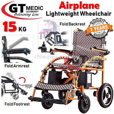 �� RM5500��GT MEDIC GERMANY Lightweight Airplane Electric Wheelchair Foldable Travel Auto Motor Wheel Chair / Kerusi Roda Elektrik