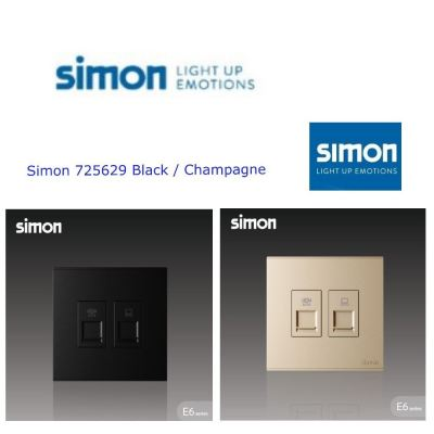 SIMON SWITCH 725229 2 GANG TELEPHONE OUTLET (RJ11)& DATA OUTLET (RJ45) BLACK