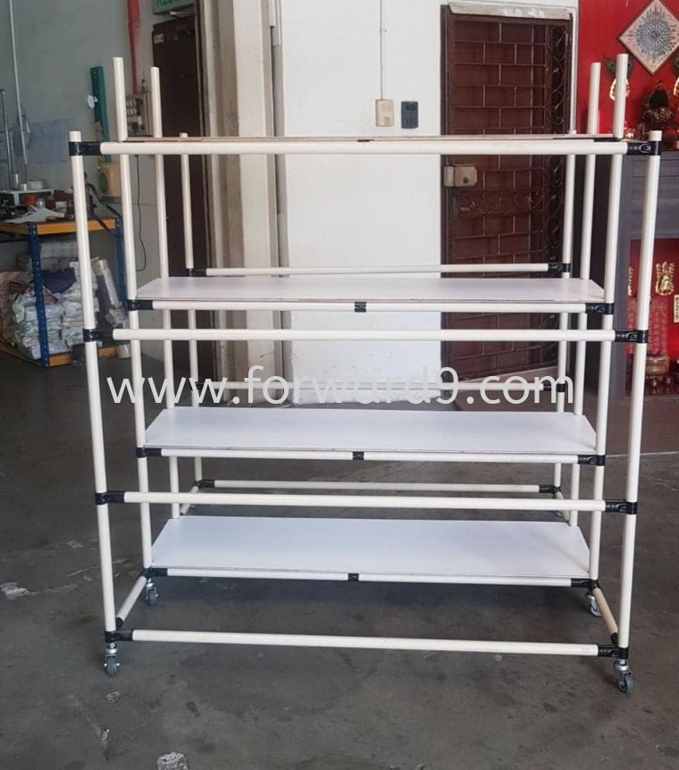 ABS Pipe & Joint 4 Tier Racking Trolley  Finished Products Pipe & Joint System Racking System