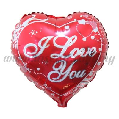 18inch Foil Balloon Heart Shape - I Love You (18FB-QX127)