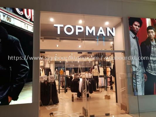 topman 3D LED channel box up lettering signage at pavilion mall Kuala Lumpur