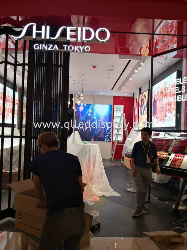 LED Display Screen On Shop Lot Display Window Shiseido Suria KLCC  Shop Window ADS Display Screen Indoor Shopping Center Led Screen