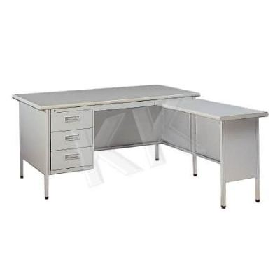 L-Shape Single Pedestal Steel Desk