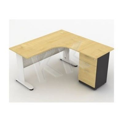 L-Shape Table with Fixed Pedestal and Modesty Panel