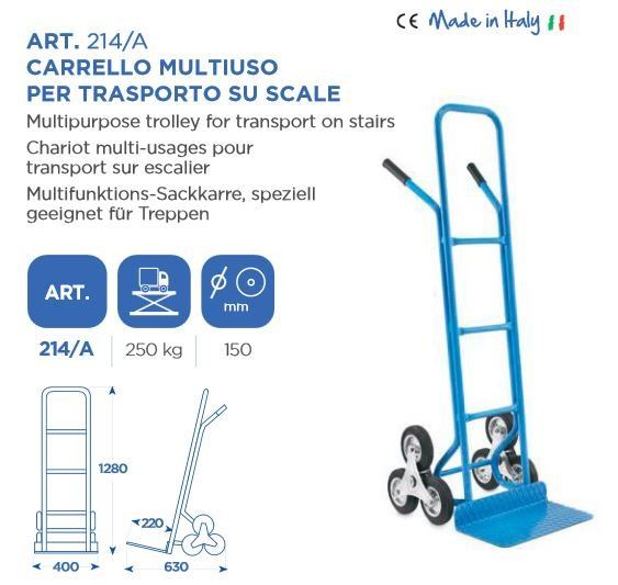 OMCN (ITALY) 250KG TROLLEY WITH TRIPLE-WHEELS FOR SWIVELING-CARRYING BASE:L400MM X 270MM ART214A