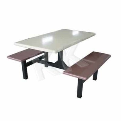 4 Seater Long Bench Fibreglass Canteen Set