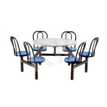 6 Seater Round Fibreglass Canteen Set With Backrest