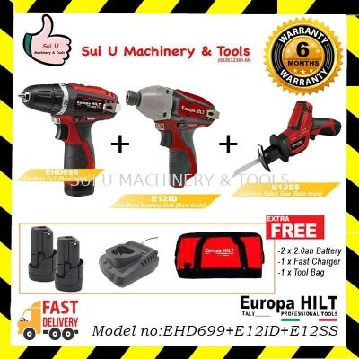 EUROPA HILT EHD699 Cordless Drill + E12ID Cordless Impact Drill + E12SS Cordless Sabre Saw FREE 2x 2
