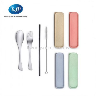 TOFFI 4-PC PORTABLE STAINLESS STEEL FLATWARE SET (SPOON + FORK + STRAW + BRUSH) - F0023