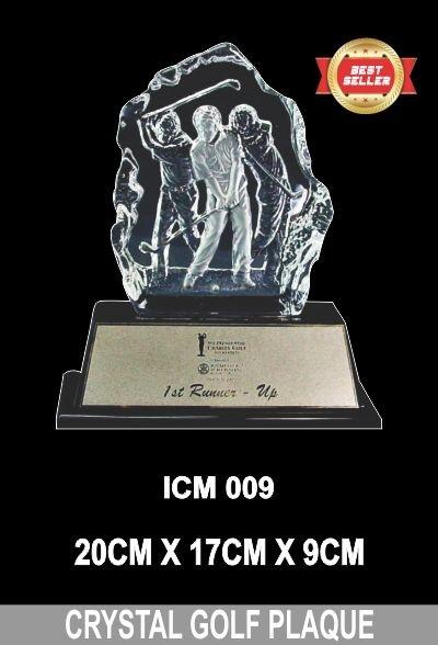 ICM 009 CRYSTAL GOLF PLAQUE