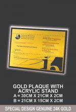 GOLD PLAQUE WITH ACRYLIC STAND
