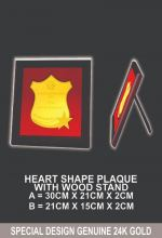 HEART SHAPE PLAQUE WITH WOOD STAND