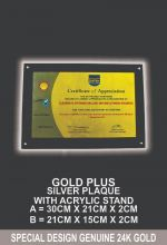 GOLD PLUS SILVER PLAQUE WITH ACRYLIC STAND