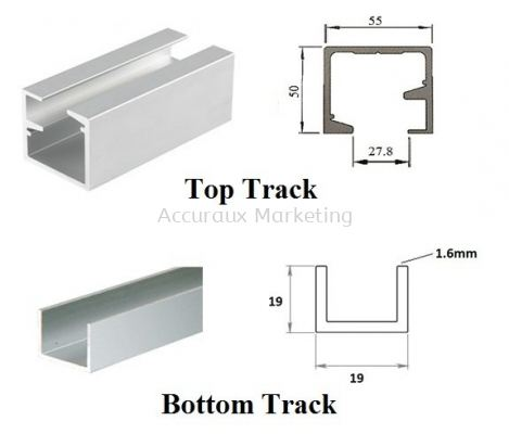 Multi Panel Top Track For 100kg & Aluminium U Channel Track
