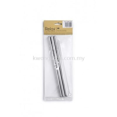 3PCS 21.5CM STAINLESS STEEL STRAW (STRAIGHT + THICK)+ 1PC BRUSH - D2006-90