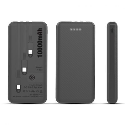 F-223 POWERLINE - POWERBANK WITH 3 BUILT IN CABLE - 10000mAh