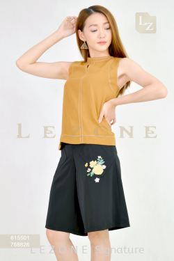 768826 PLUS SIZE EMBROIDERED FLORAL CULOTTES 【30% 40% 50%】