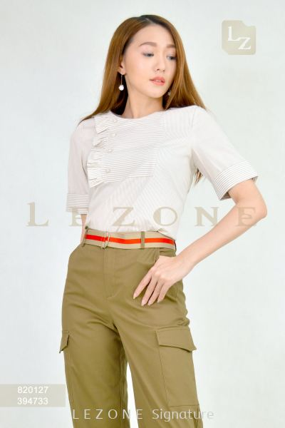 820127 STRIPED SLEEVE BLOUSE ��2ND 50%��
