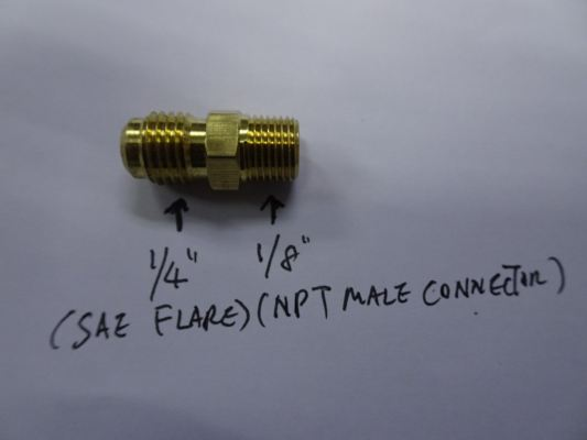 "1/4""SAE (FLARE) X 1/8""NPT MALE CONNECTOR MC-04X02"