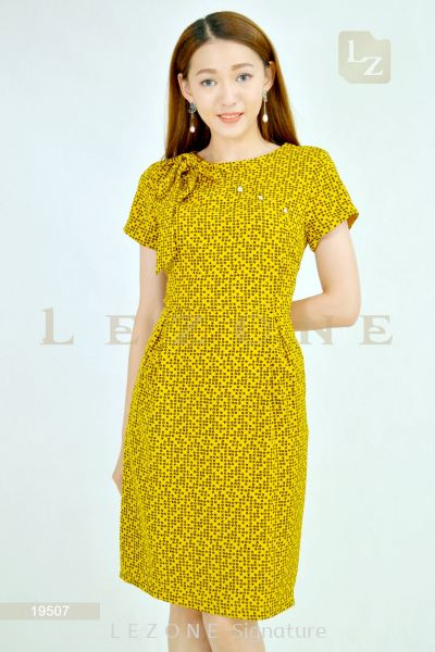 19507 PRINTED PATTERN SLEEVE DRESS��2ND 50%��