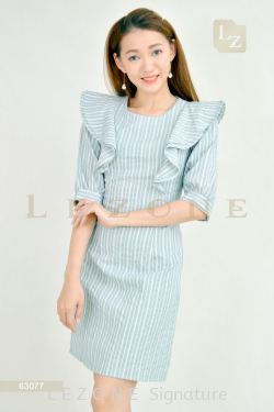 63077 STRIPED RUFFLE SLEEVE DRESS【30% 40% 50%】