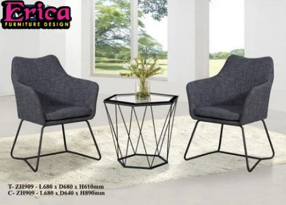 ERICA Stylish F&B Dining Table Set -T-ZH909+C-ZH909 (1+2)