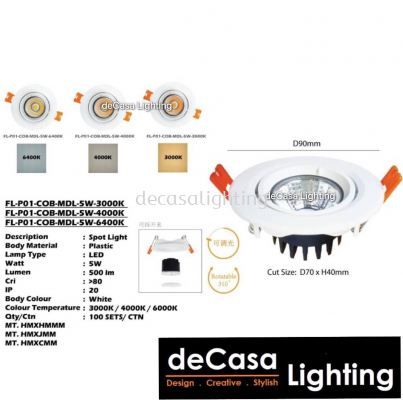 Linear Downlight / Eyeball FL-P01-COB-MDL