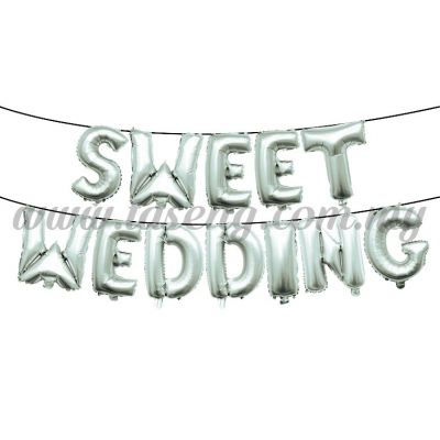 17inch Sweet Wedding Foil Balloon Set *Silver (FB-WD-S1701S)