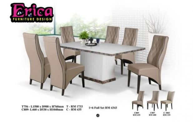 Long Marble Dining Table Set-T756+C809 (1+6 Full Set)