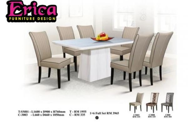 erica Long Marble Dining Table Set-SM01+C3003 (1+6 Full Set)