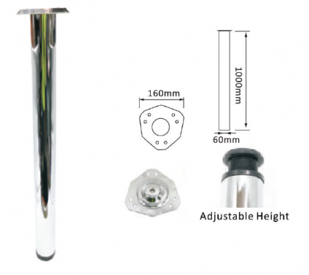 "40"" SW1012 DIA60MM TABLE LEG (CHROME)"