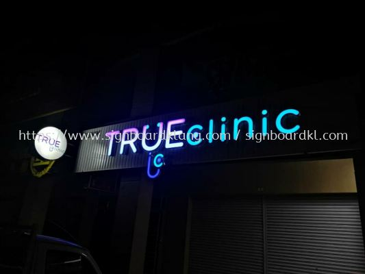True clinic aluminum trism casing 3D led channel box up lettering signage signboard at kota damansara Kuala Lumpur
