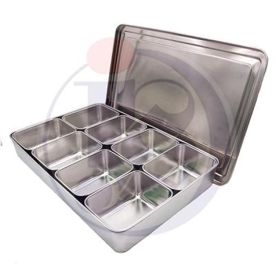 Stainless Steel 8 Grid Seasoning Box