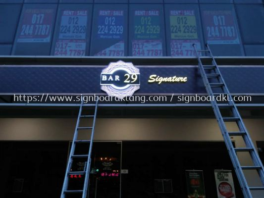 bar 29 3D led conceal box up lettering sigange at Bukit jalil Kuala Lumpur