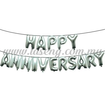 17inch Happy Anniversary Foil Balloon Set *Silver (FB-WD-S1703S)