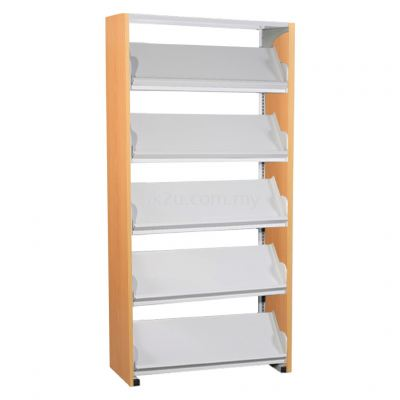 SSLM-5L-WP - Single Sided Magazine Rack With Steel Panel (5 Shelves)