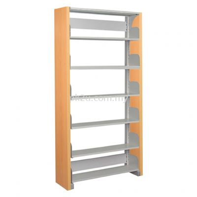 SSLS-6L-WP - Single Sided Library Shelving With Wooden Panel (6 Shelves)