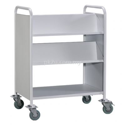 LBEM-3L-G2 - Double Sided Book Trolley With Steel Panel (4 Slanting & 1 Flat Shelves)