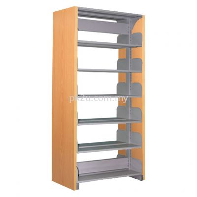 DSLS-6L-WP - Double Sided Library Shelving  With Wooden Panel (12 Shelves)