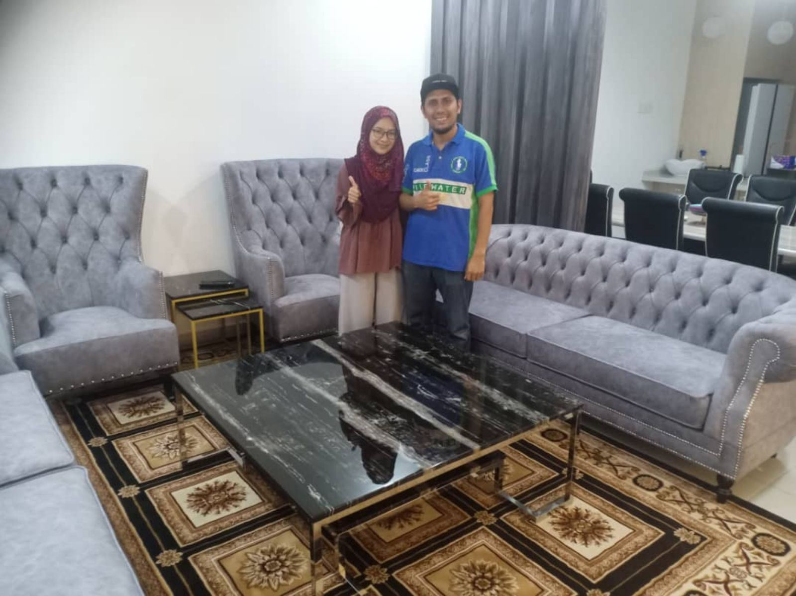 Modern Marble Coffee Table - Silver Platino Marble